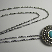 Vintage Sterling Silver & Faux Turquoise Stone Pendant w/ Chain MET