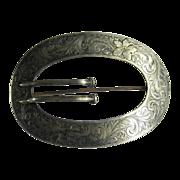 Antique Victorian Sterling Silver Larve Oval Belt Buckle Pin Brooch