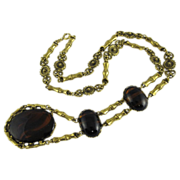 Vintage Gold Tone Necklace w/ Large Brown Glass Pendant 1980s