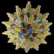 Vintage Gold Tone & Multicolor Rhinestons Star Brooch
