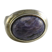 Vintage Sterling Silver & Purple Jasper Dome Ring by Joseph Esposito