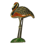 Vintage Sterling Enamel Flamingo Brooch Pin USA