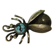 Vintage Sterling Silver & Turquoise 3D Bug Pin