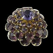 Vintage Cluster Pin with Purple Rhinestones