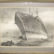 SOLD Rare Signed John A. Noble Framed Lithograph The Cape Horner