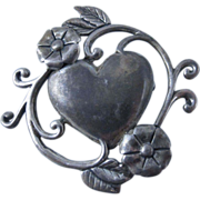 Vintage Sterling Silver Art Nouveau Heart Brooch Pin