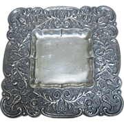 Beautiful Finnish 813 Silver Flower Square Dish Plate Finland 1957