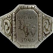 Rare David Andersen 830S Silver Ring Signet Norway 1888-1925