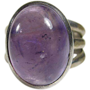 Modern Design Sterling Silver and Cabochon Amethyst Ring