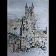 Framed Paul Geissler Signed Etching of Madison Hall Princeton University NJ