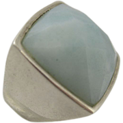 Vintage 1990s Sterling Silver Ring Faceted Square Blue Stone