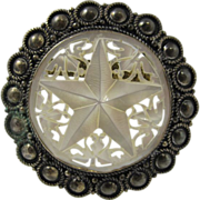 Jewish Silver & Mother of Pearl Star Pendant / Pin Jerusalem