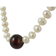 SALE Vintage Cultured White Pearls & Sterling Silver Necklace
