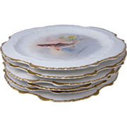 Set of Six Limoges Hand Painted Porcelain Fish Plates France