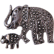 SALE Vintage Sterling Silver & Marcasites Elephant Pin