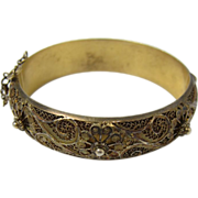 Vintage Gilt 833 Filigree Silver Portuguese Bangle Bracelet