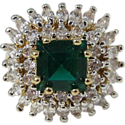 JBK Jacqueline Kennedy Sterling Silver Swarovski Crystal / Emerald Cocktail Ring 1980s