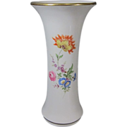 "SALE Vintage 1950s German Meissen White Porcelain Hand Painted Flower Vase 10 1/4"" Tall"
