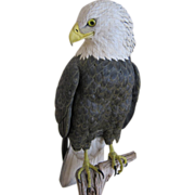 SALE Hand Carved and Painted Sculpture of American Bald Eagle by Richard Koeditz c. 1990s