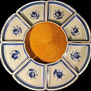 SALE Royal Copenhagen Tranquebar-Blue Lazy Susan Porcelain Dishes w/ Wooden Base 1960s Denmark