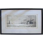 "SALE Original Etching ""Dumbarton Rock"" by English Artist William Lionel Wyllie (1851"