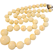 SALE Vintage Mediterranean White Coral Graduating Beads Necklace