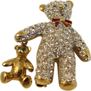 SALE Vintage 1980s Gold Tone & Clear Rhinestones Bear Brooch Pin by Carolee