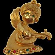 SALE Vintage Winged Angel Cherub Playing Mandolin Signed Brooch by Mylu