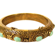 SALE Vintage Chinese Filigree Sterling Silver Vermeil & Turquoise Hinged Bangle