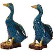 SALE Vintage 1920s-1940s Pair of Blue Chinese Export Pottery Ducks
