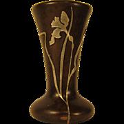 "SOLD Vintage Arts & Crafts Heintz Sterling on Bronze 6.5"" Vase w/ Flowers"