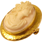 SALE Antique 10k Yellow Gold Carved Angel Skin Coral Cameo Brooch / Pin
