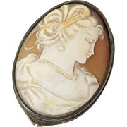 Antique Italian 800 Silver and Shell Cameo Compact Italy
