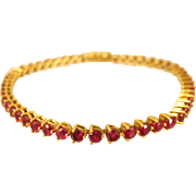 SALE Superb 18k Yellow Gold Red Ruby Tennis Bracelet 8 ct