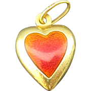 Vintage Italian 18k Yellow Gold and Red Enamel Heart Pendant
