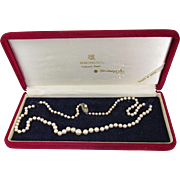 "Vintage Mikimoto Cultured Graduated Size Pearls Necklace Sterling Silver Clasp 22"" Long"