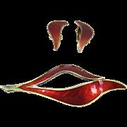 Vintage Red Enamel & Gilt Sterling Silver Brooch & Earrings Set Norway