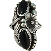 Vintage South Western Sterling Silver & Black Onyx Ring Max C.