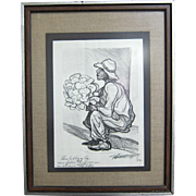 SOLD American-Mexican 1972 Signed Lithograph Flower Salesman by Pablo Esteban O'Higgins (1904-