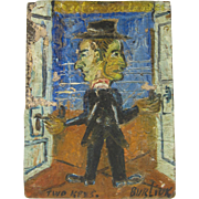 "Oil Painting ""Two Keys"" by David Burliuk (1882-1967)"