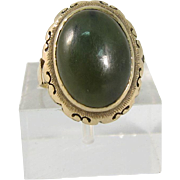 Vintage 10k Yellow Gold & Green Jade Ring