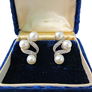 Vintage 14K White Gold Pearl and Diamond Pierced Earrings