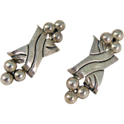 Modernist 925 Sterling Silver Earrings by Pat Areias