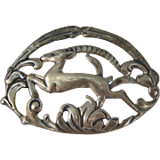 Vintage Sterling Silver Art Nouveau Ram Brooch Pin