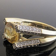 Splendid 14K Yellow Gold Citrine & 52 Diamonds Ring