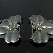 SALE Pair of Antique Sterling Silver Belt Garter Buckles