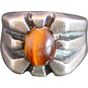 Sterling Silver Modernist Ring w/ Brown Stone