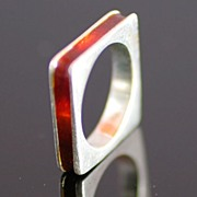 Sterling Silver Modern Design Square Ring