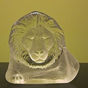 Vintage Royal Krona Lion Artglass Mats Jonasson Signed