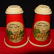 SOLD Vintage Catskill Game Farm Salt and Pepper Shakers